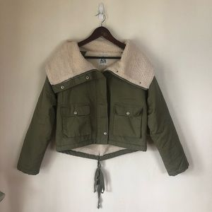 Unif x Urban Outfitters Green Sherpa Bomber Jacket